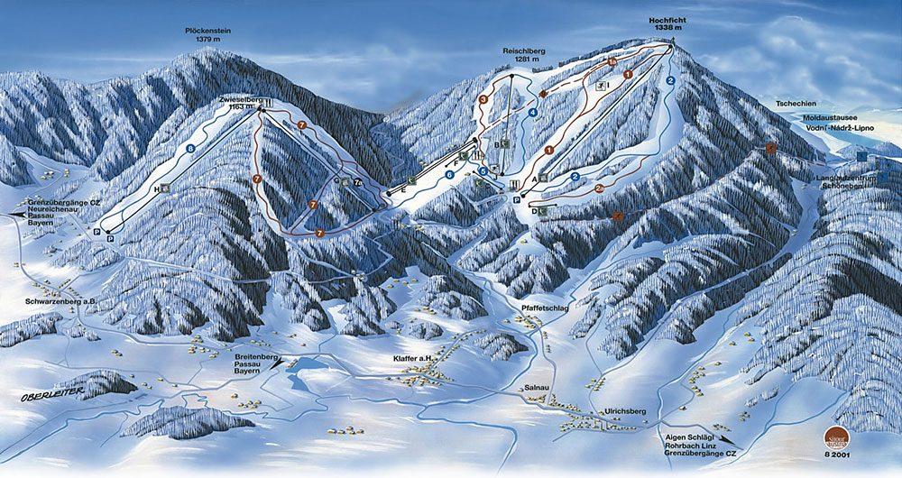 Ski area Hochficht map