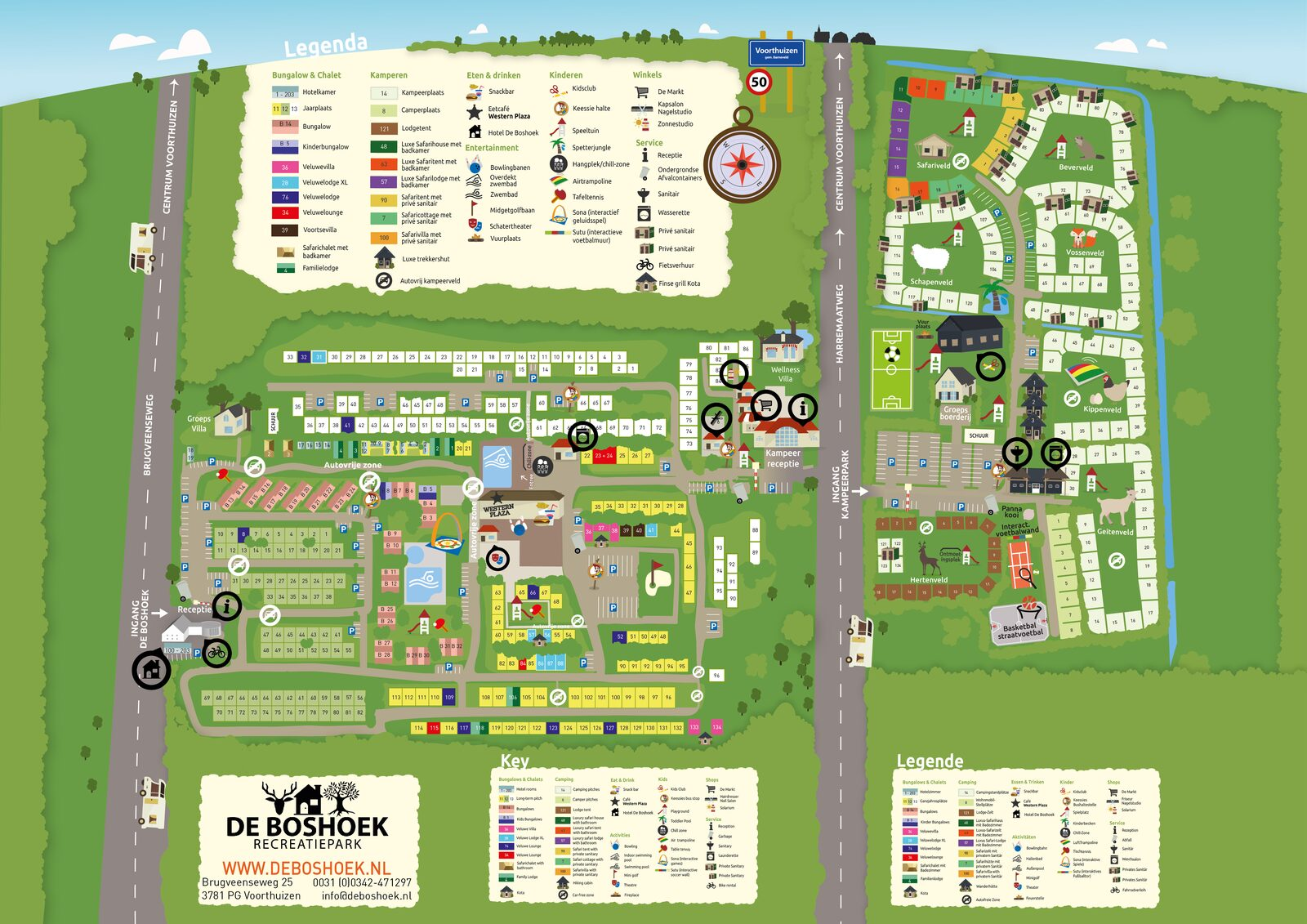Map of Recreation Park De Boshoek on the Veluwe in Voorthuizen