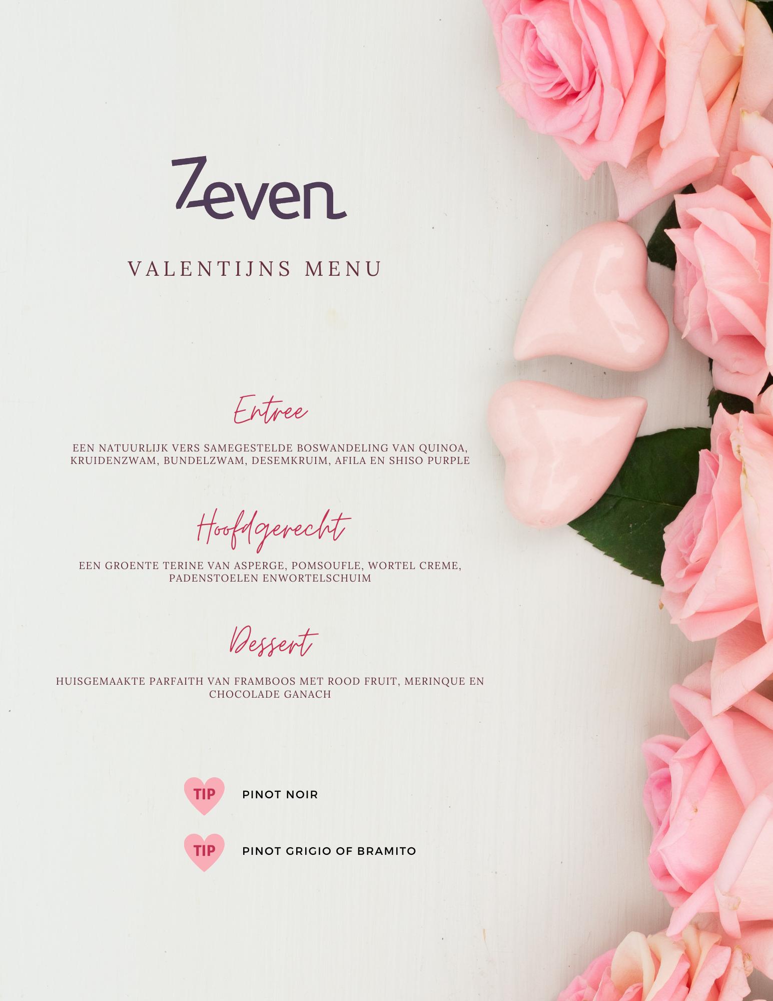 Vegetarische menu valentijn