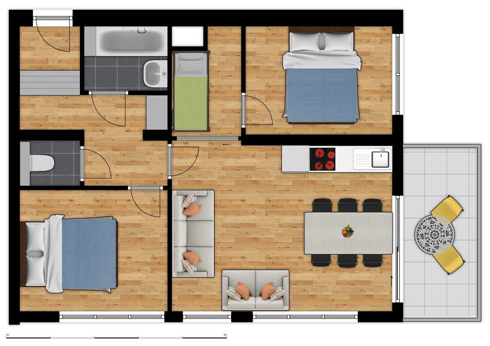 Comfort Suite - 7p | 2 Slaapkamers - Slaaphoek
