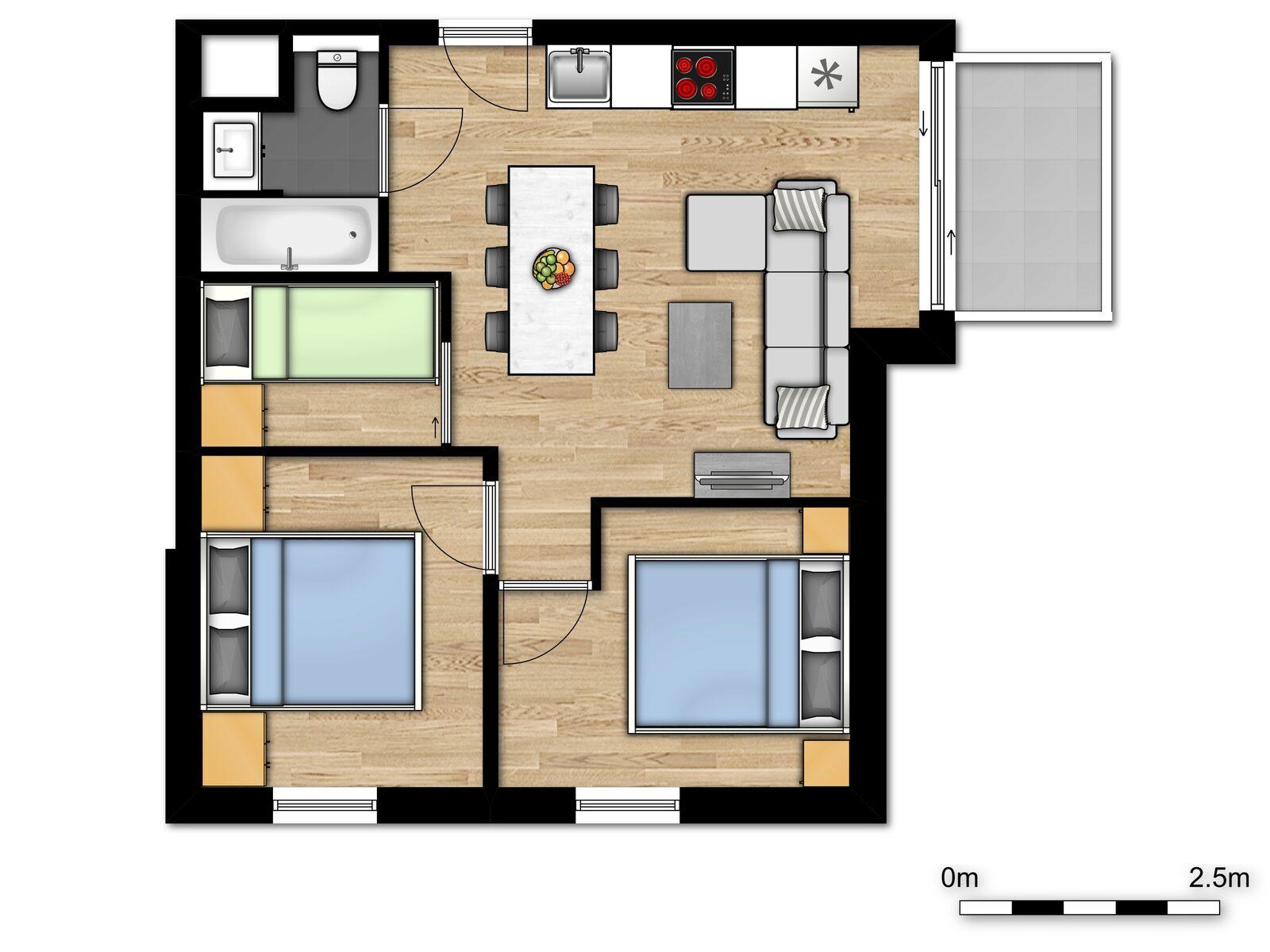 Comfort Suite - 6p | 2 Slaapkamers - Slaaphoek