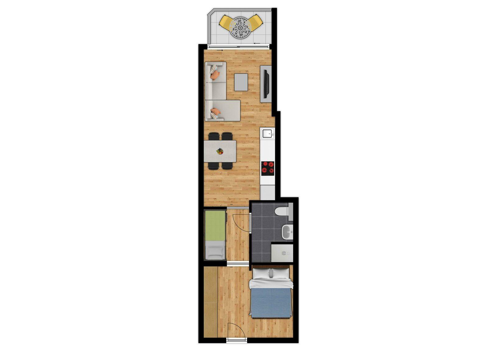 Comfort Suite - 4p | Slaapkamer - Slaaphoek | Balkon - Stadszicht