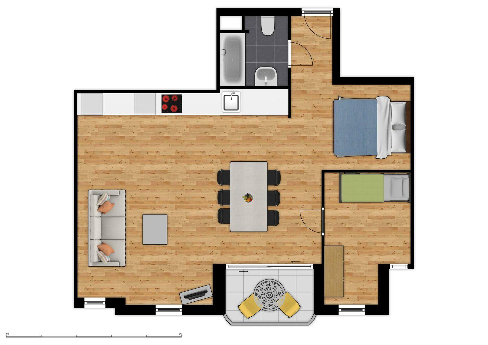 Comfort Suite - 6p | Slaapkamer - Slaaphoek - Zetelbed | Balkon - Zeezicht
