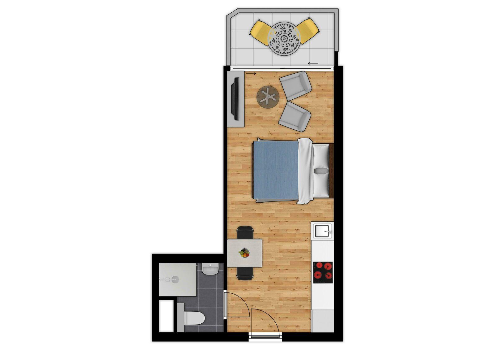 Essential Suite - 2p | Lit double | Balcon - Vue de ville