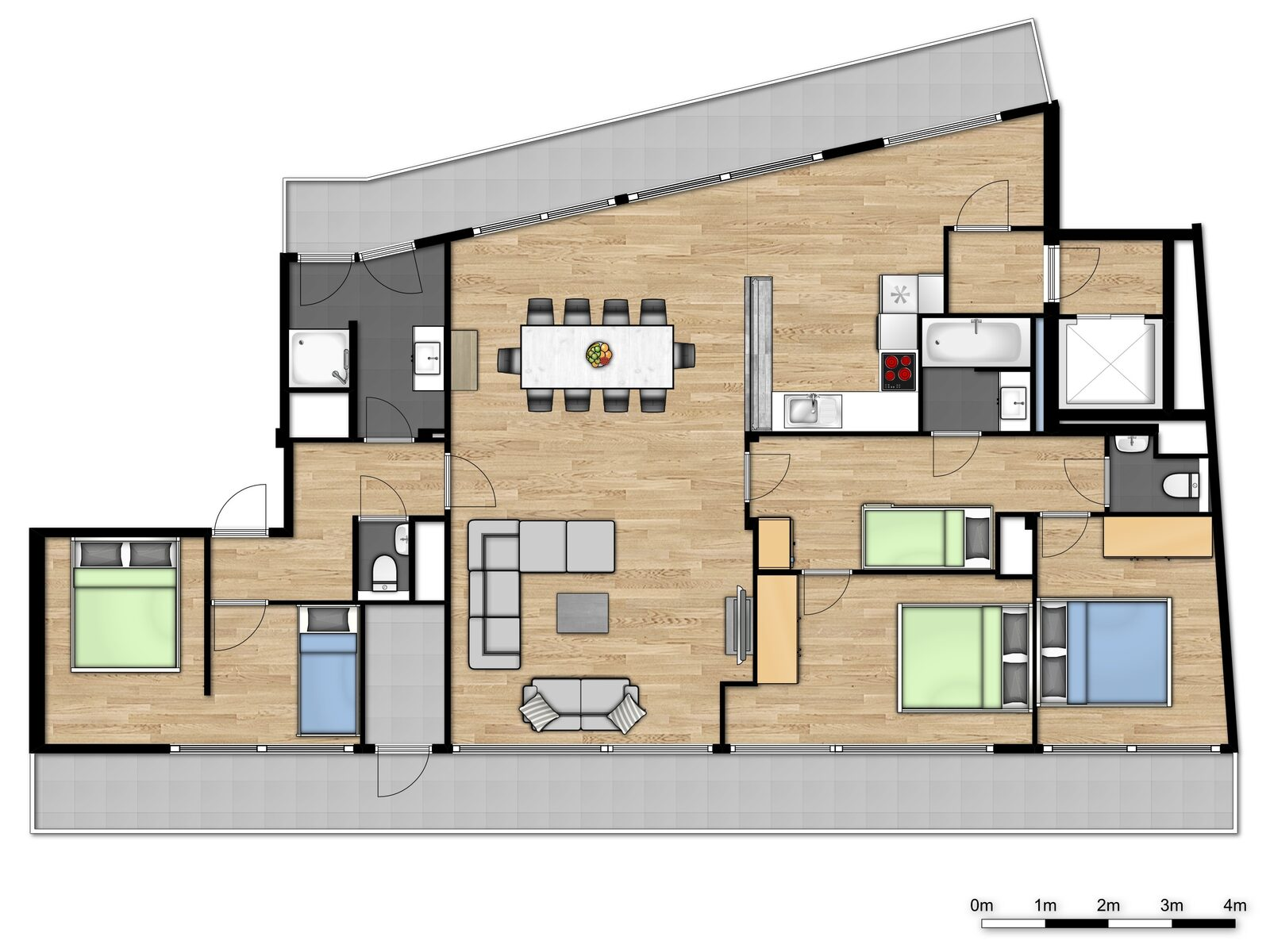 Penthouse - 10p | 3 Slaapkamers - Slaaphoek | Rooftop terras - Zeezicht