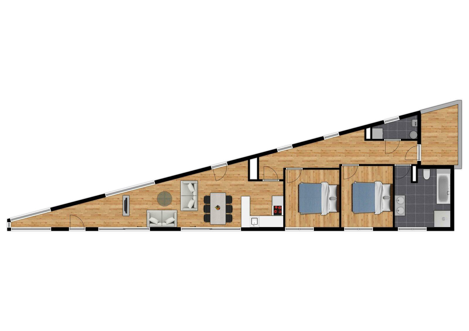 Penthouse - 4p | 2 Slaapkamers | Rooftop terras - Zeezicht