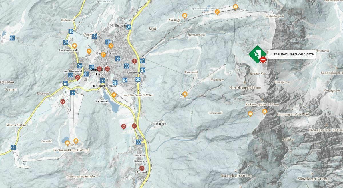 Bekijk de interactieve kaart van de panorama klettersteig.