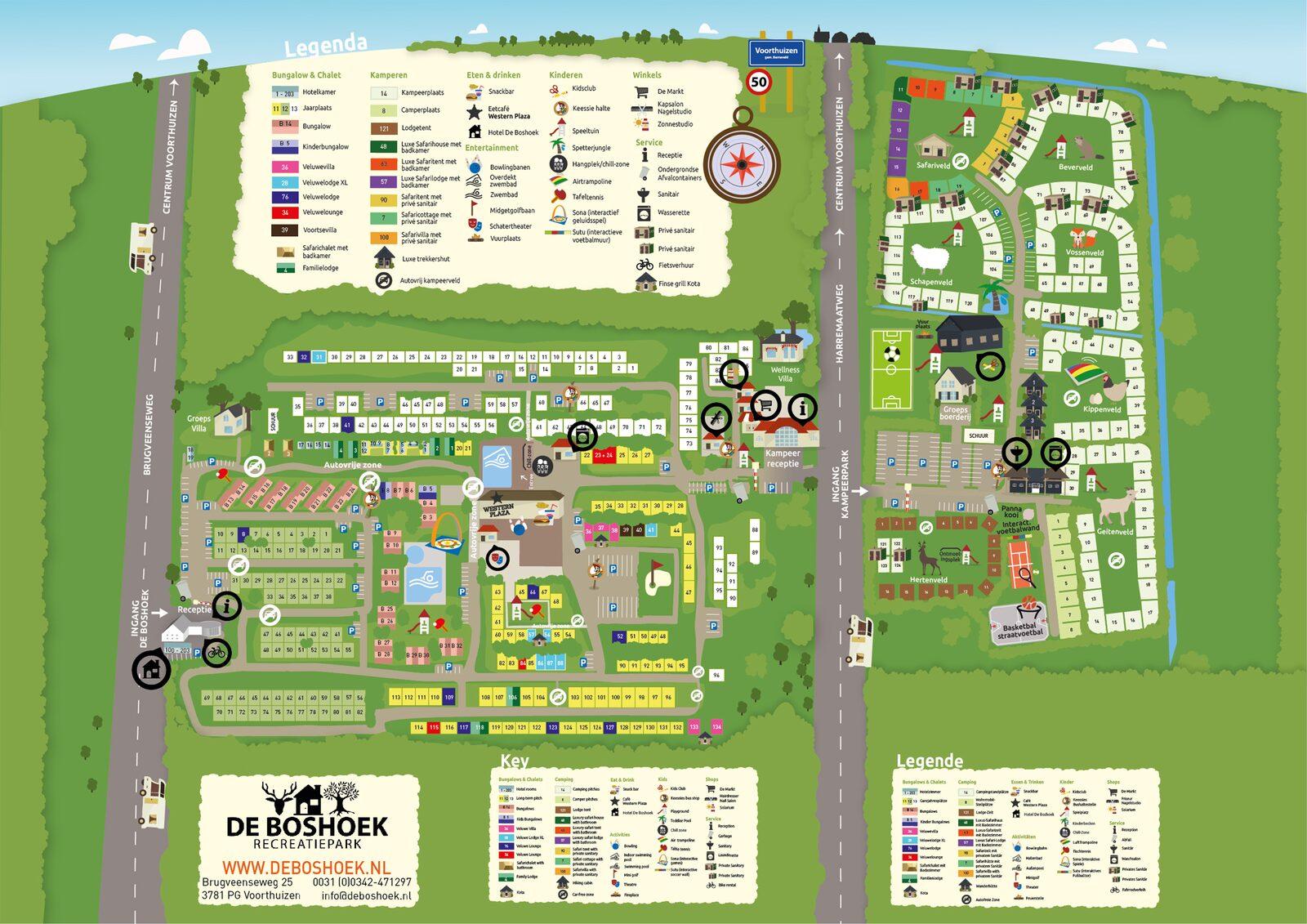 Karte des Freizeitparks De Boshoek in der Veluwe in Voorthuizen