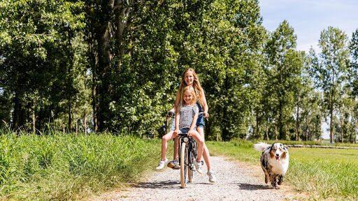 Zomerse foto van vader met moeder en twee dochters op de fiets