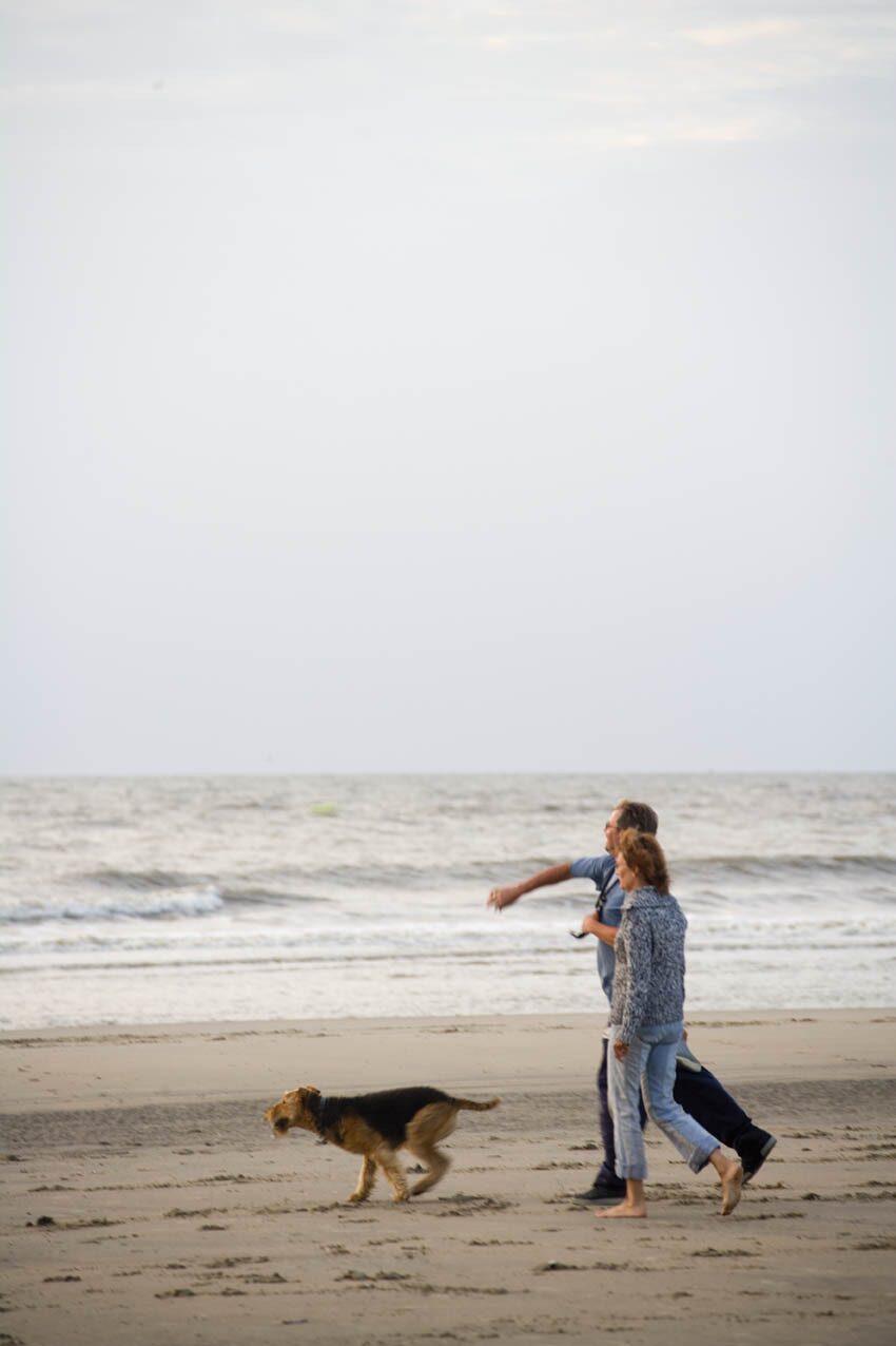 koppel met hond op strand