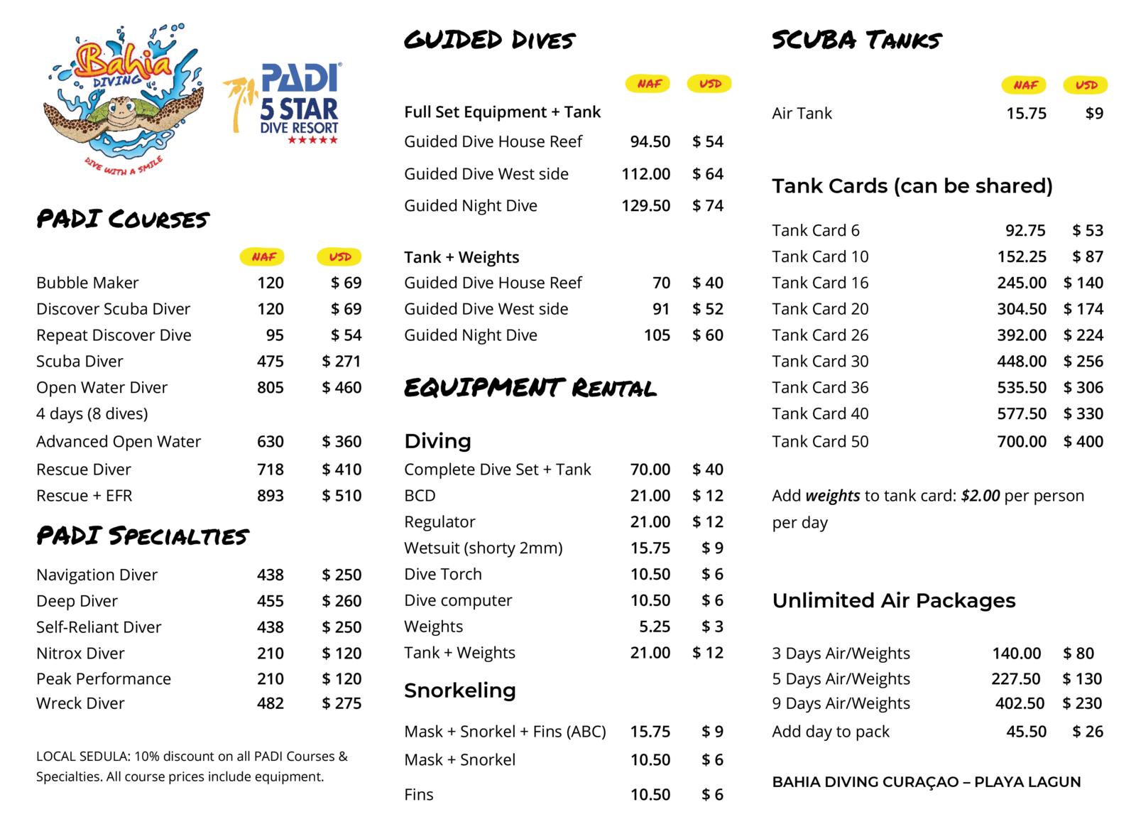 Bahia Diving Pricelist