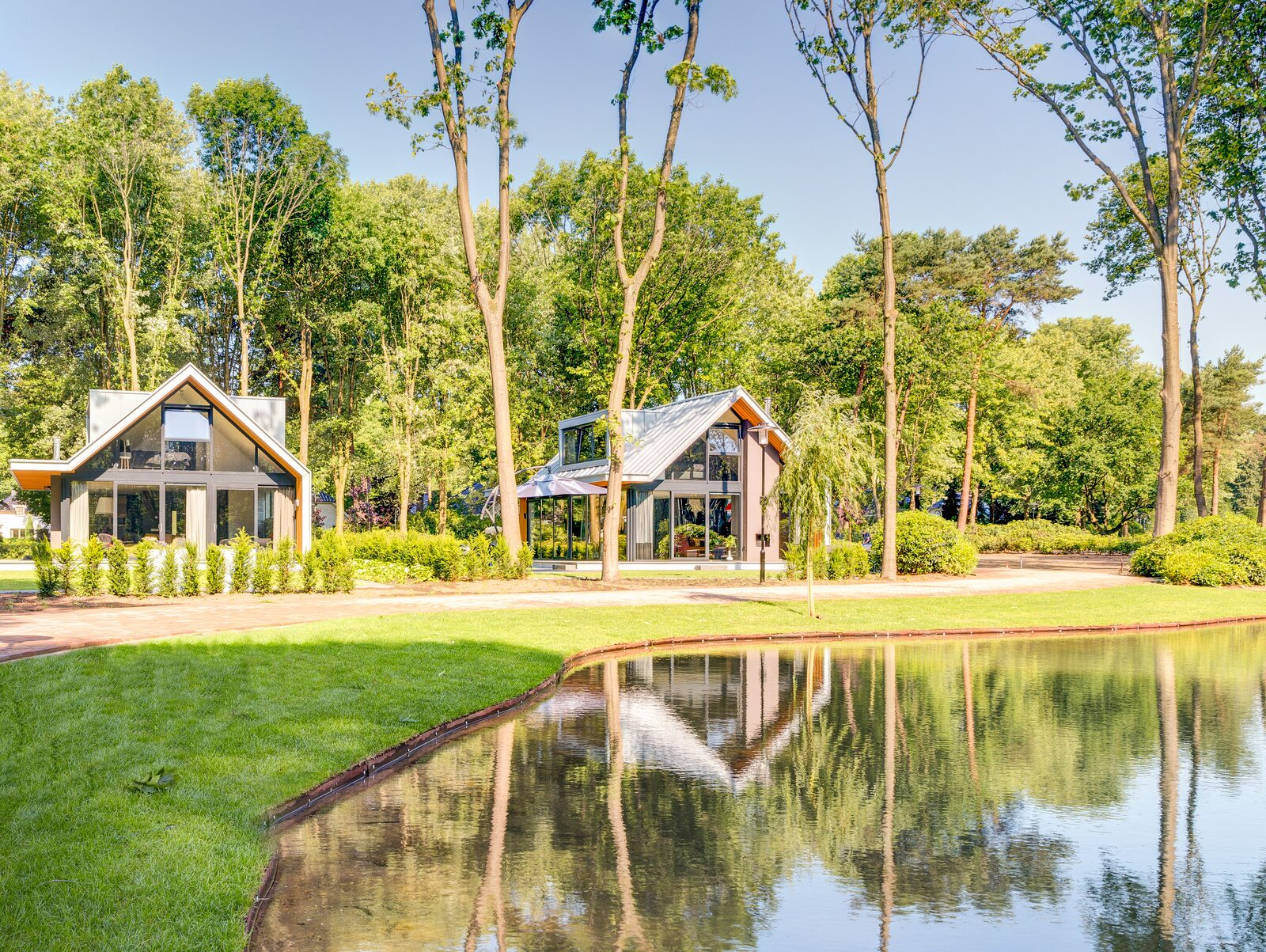 Vacation home on the water in a wooded area