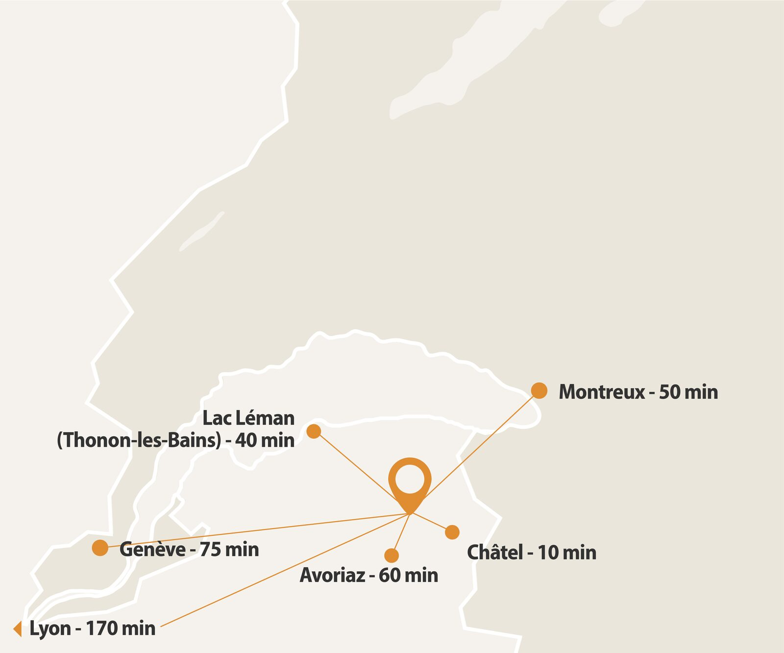 Map with the location of Oasis Les Portes du Soleil