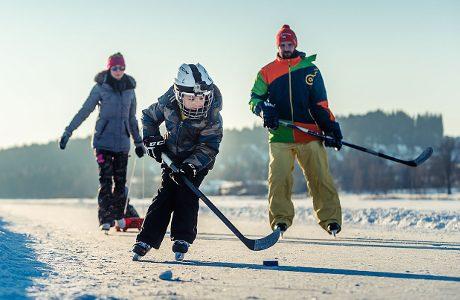 Ice skating on frozen Lipno dam