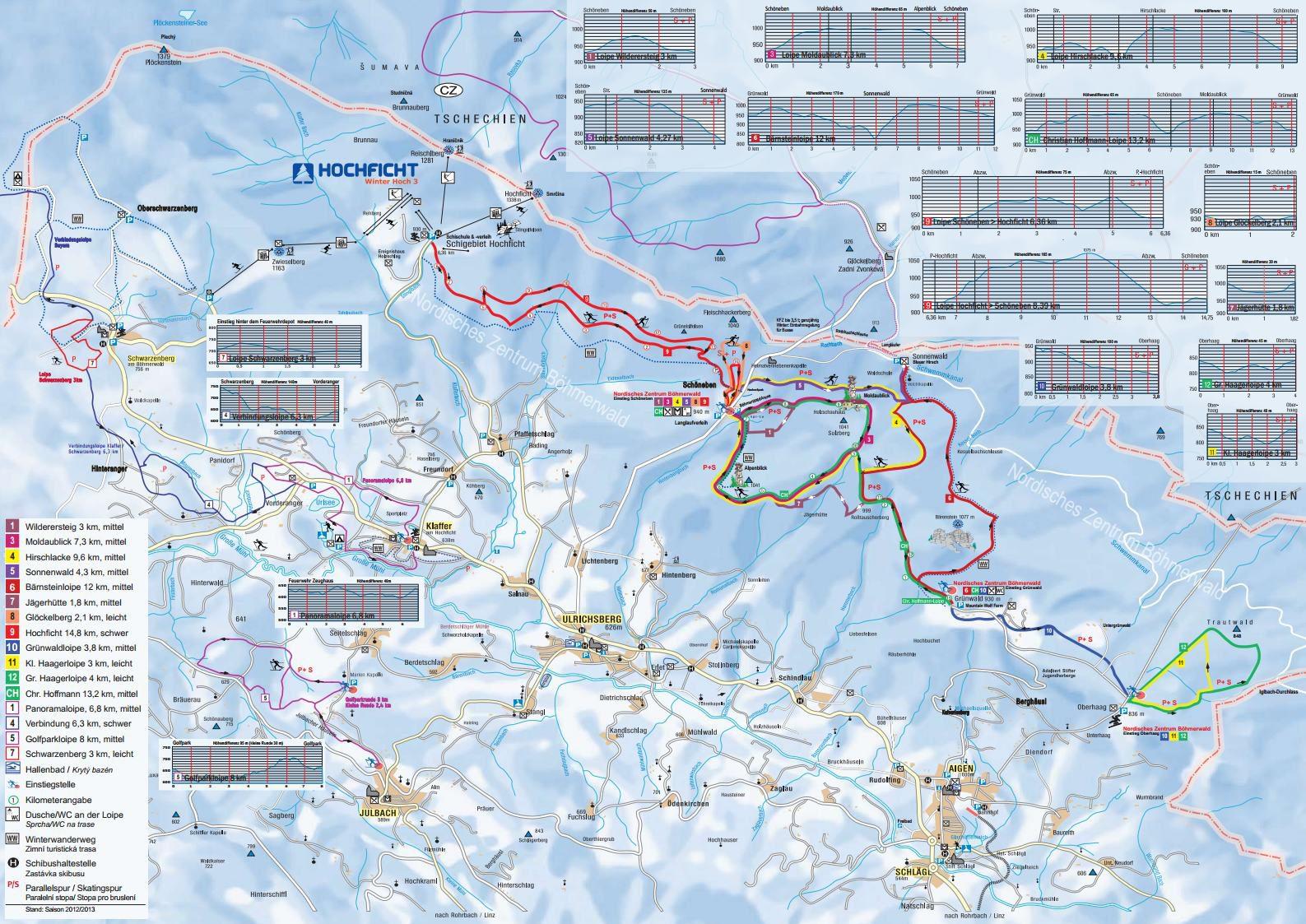 Cross country skiing Schöneben map