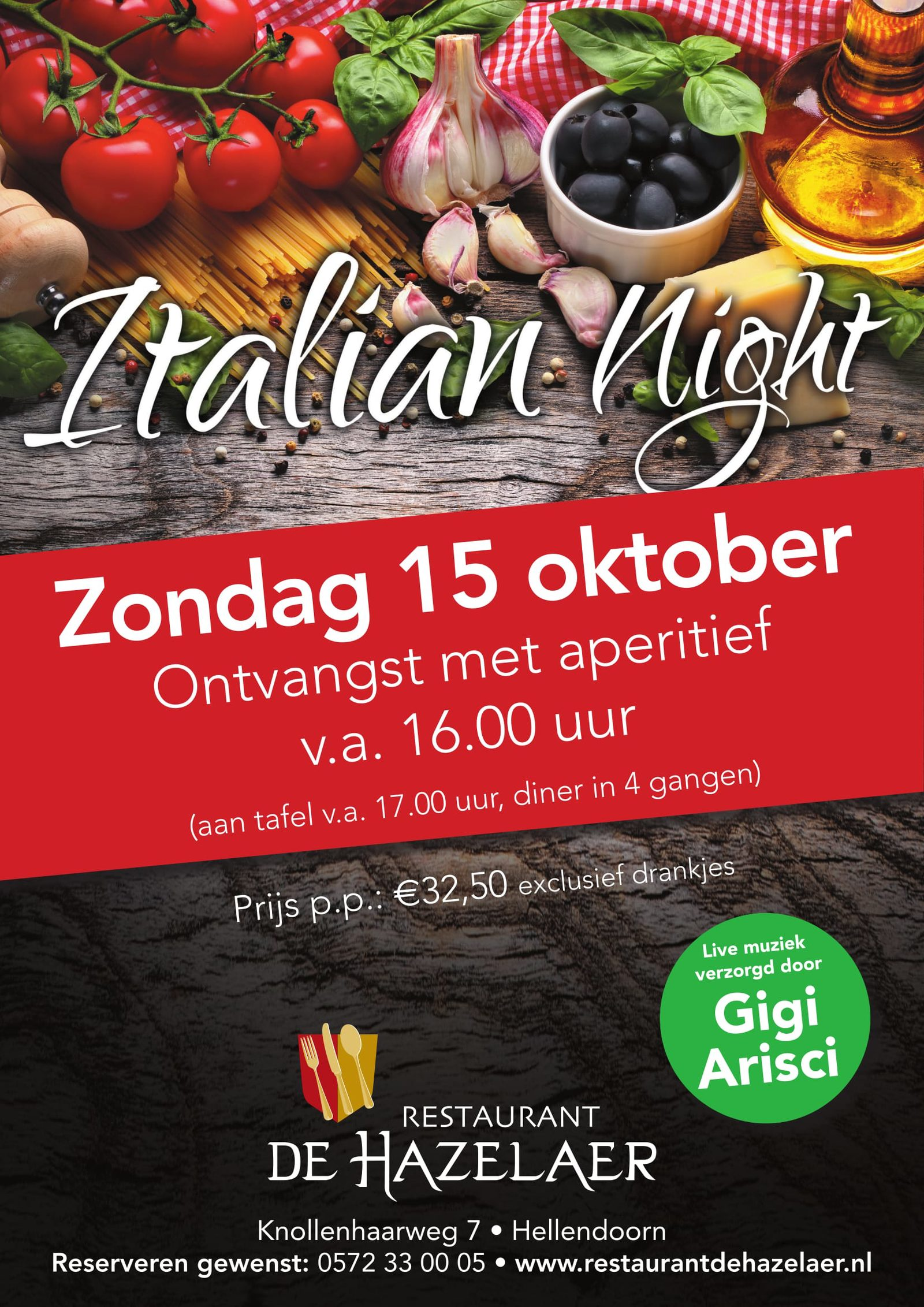 Italian Night bij restaurant De Hazelaer
