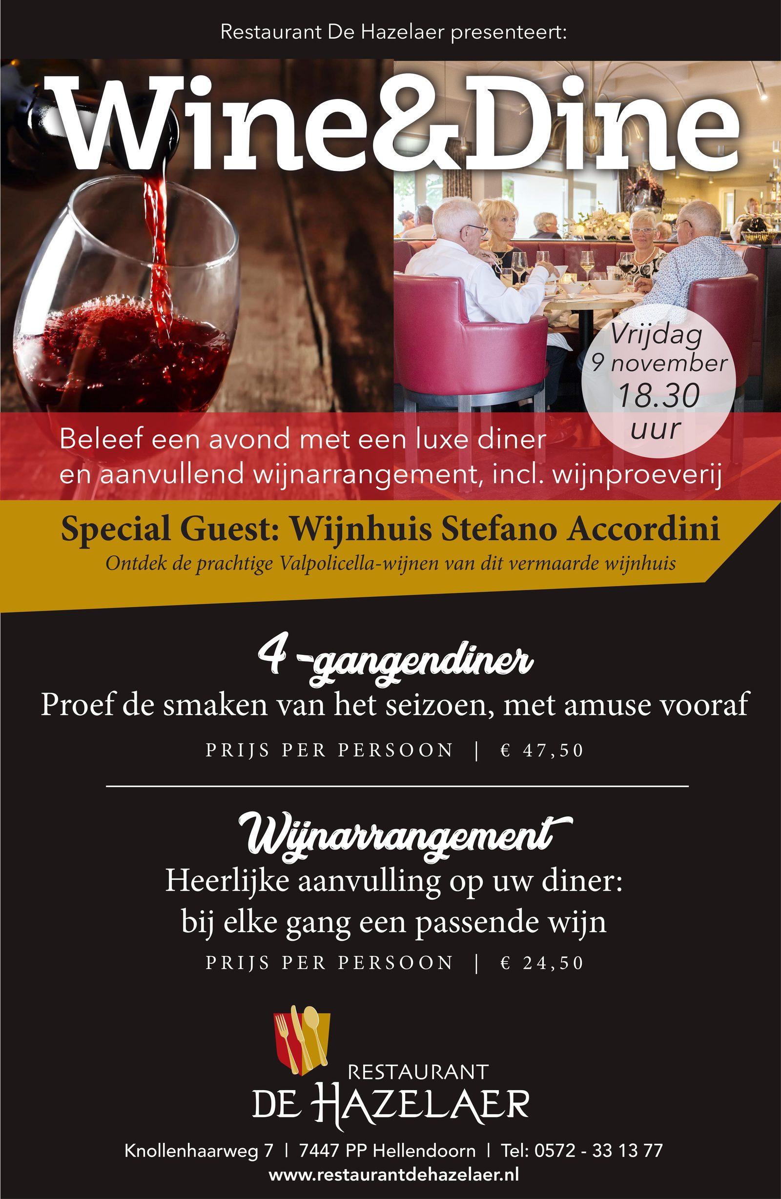 Avond Wine & Dine bij restaurant De Hazelaer