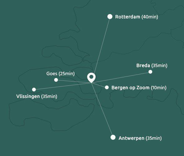 Karte mit Entfernungen