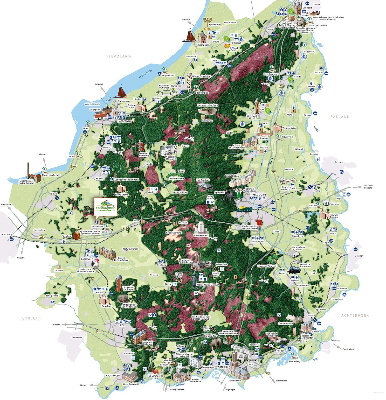 Kaart van activiteiten en attracties in de omgeving van De Boshoek in Voorthuizen