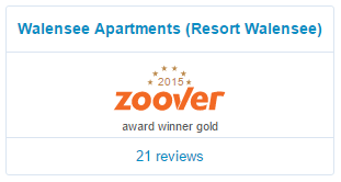 Walensee Apartments wint Zoover award 2015 voor Resort Walensee Zwitserland