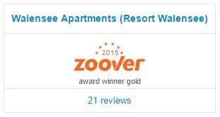 Walensee Apartments gewinnt den Zoover-Preis 2015 für Resort Walensee Schweiz