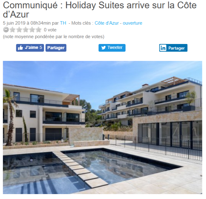 Holiday Suites Vence article