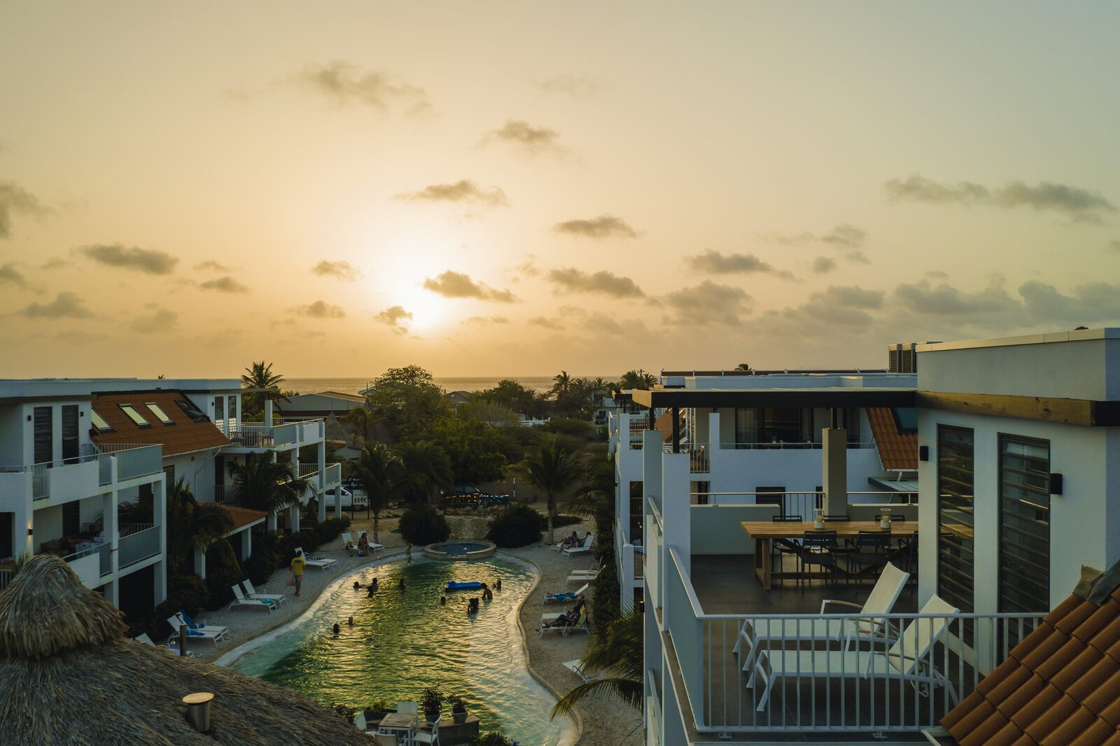 Resort Bonaire in the evening