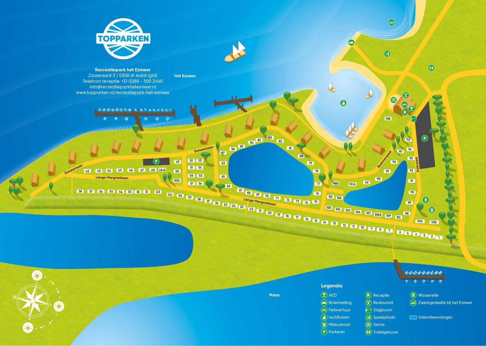 Parkplattegrond Recreatiepark het Esmeer