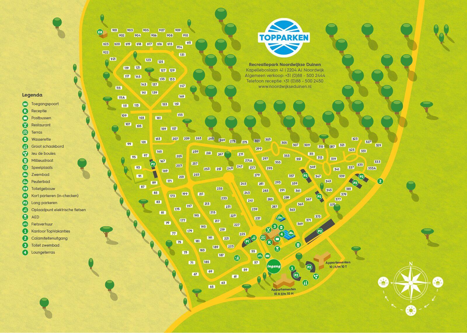 Parkplattegrond Recreatiepark Noordwijkse Duinen