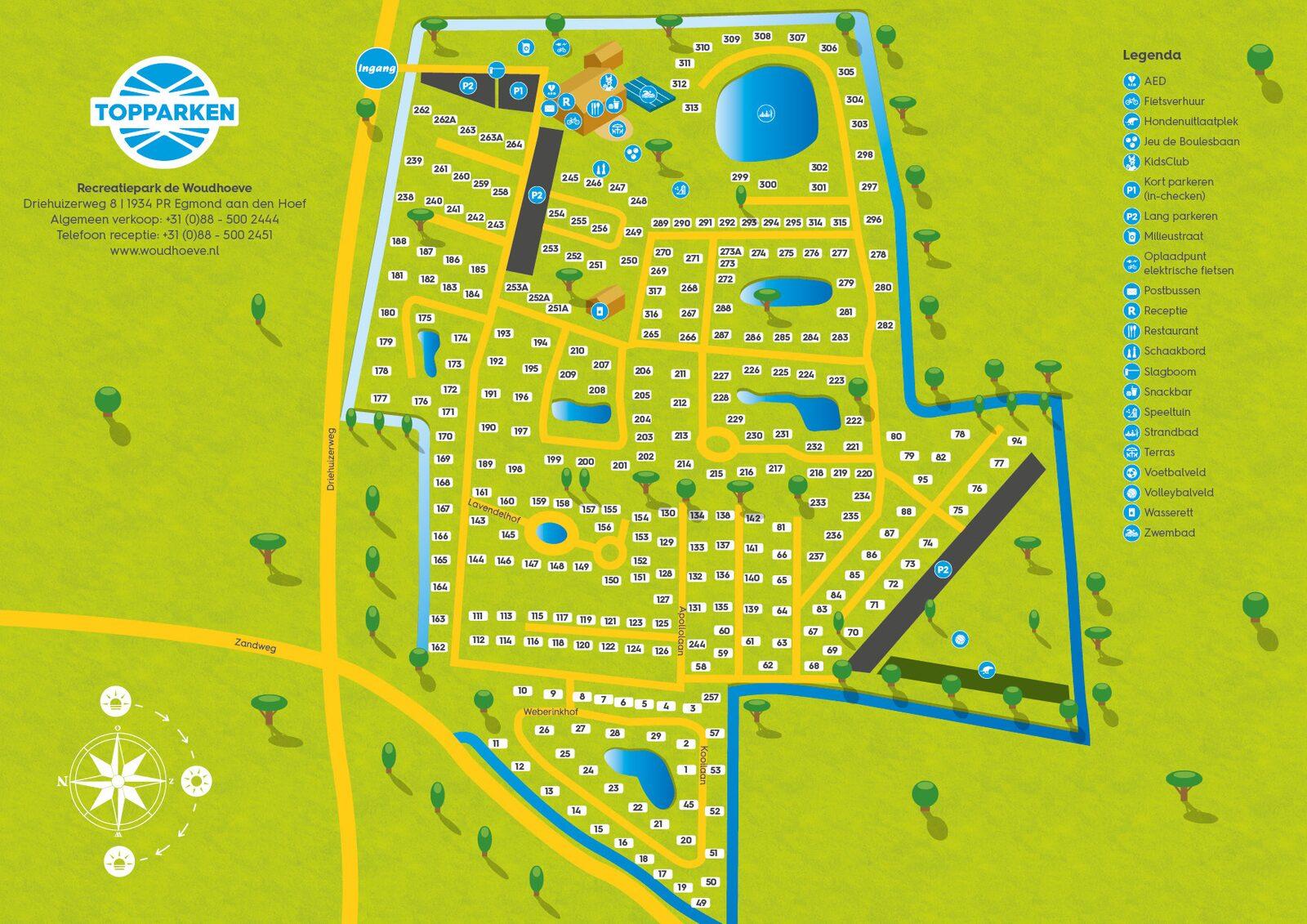 Parkplattegrond Recreatiepark de Woudhoeve