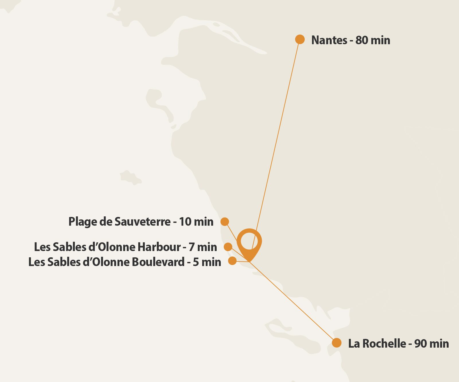 Map with the location of Oasis Les Jardins