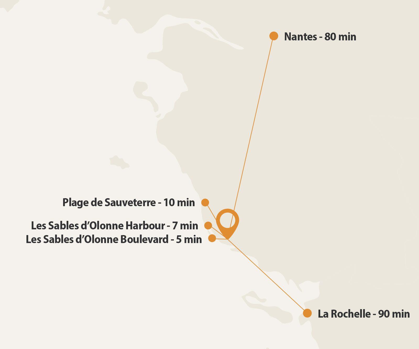Plattegrond met ligging Les Jardins des Sables d'Olonne