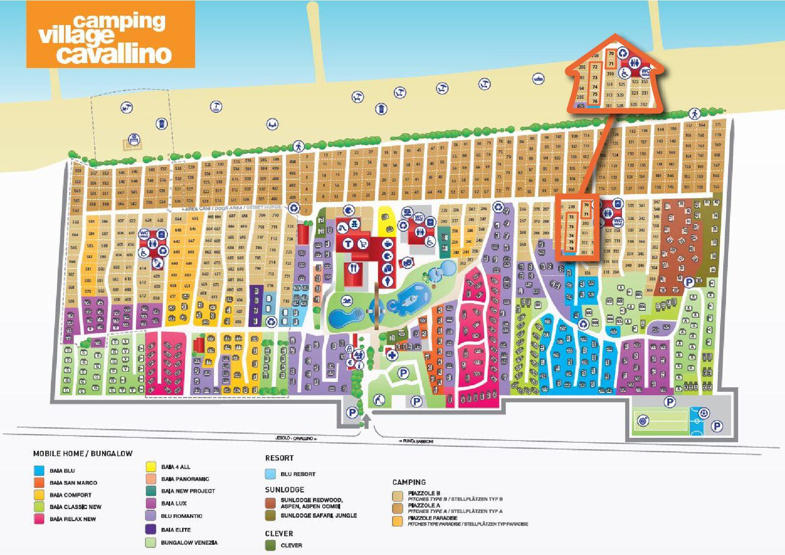 Map of Camping Village Cavallino