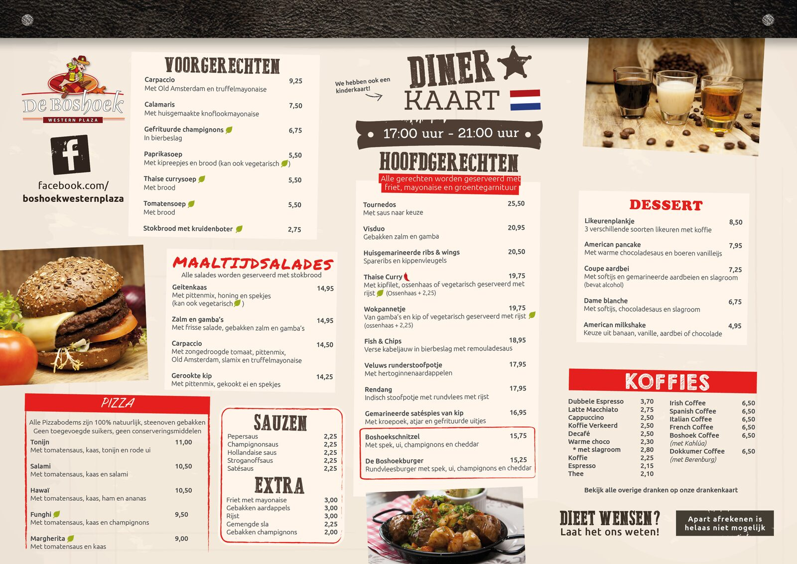Menu Western Plaza at Recreation Park De Boshoek Voorthuizen