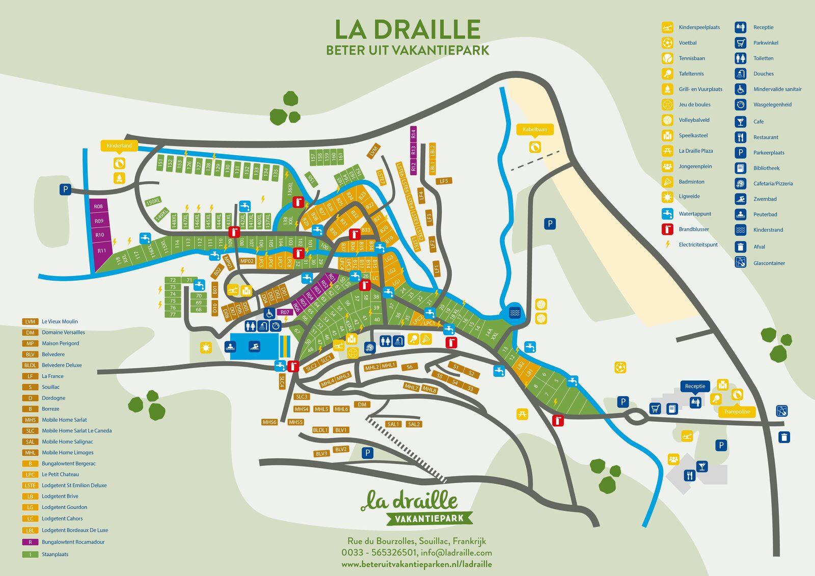 Carte du parc de vacances La Draille de Beter Uit