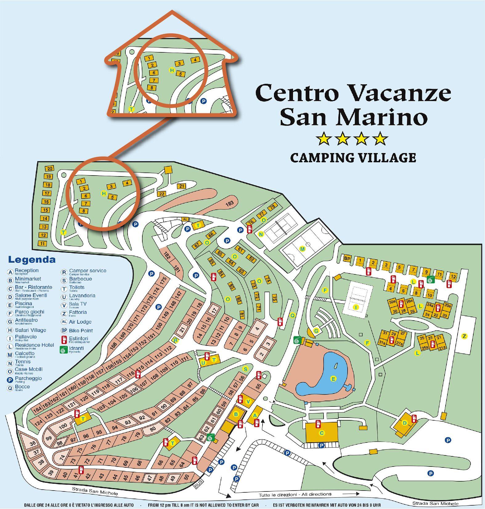 Map Centro Vacanze San Marino