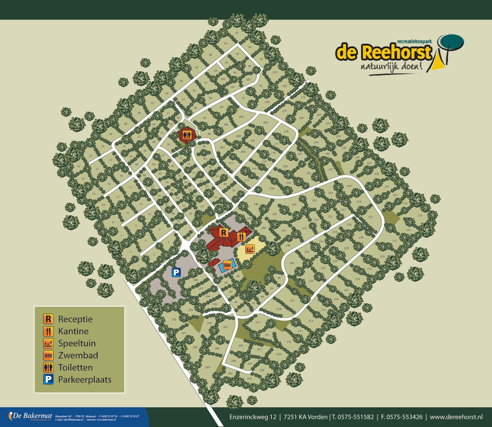Plattegrond Recreatiebospark de Reehorst
