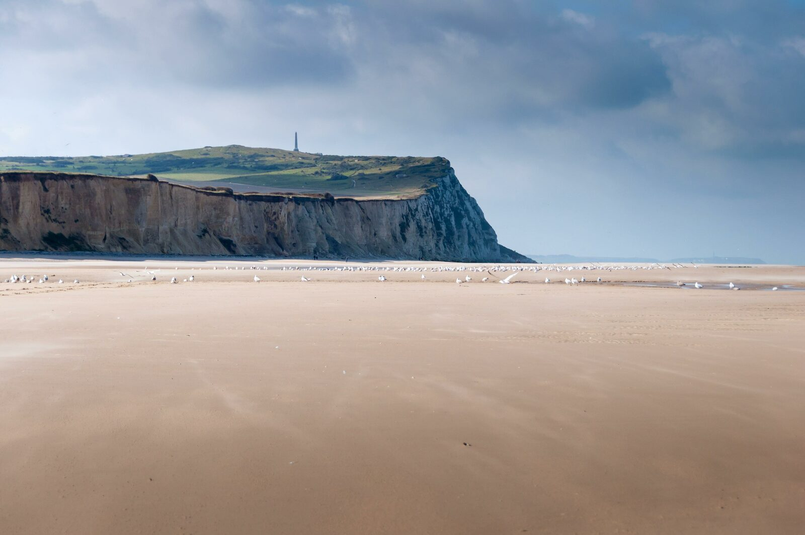 View of the top of Cap Blanc Nez from the beach.
