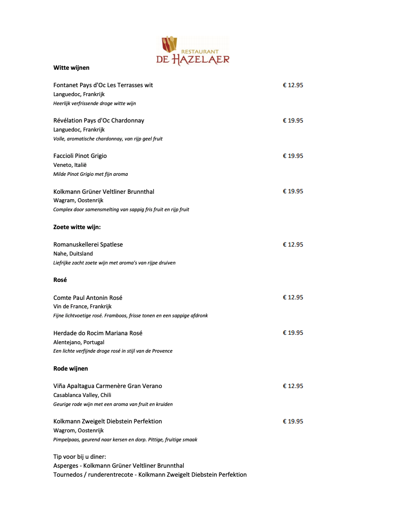 Wine menu De Hazelaer