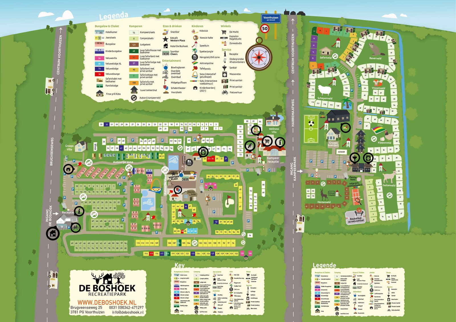 Plattegrond van Recreatiepark De Boshoek op de Veluwe in Voorthuizen