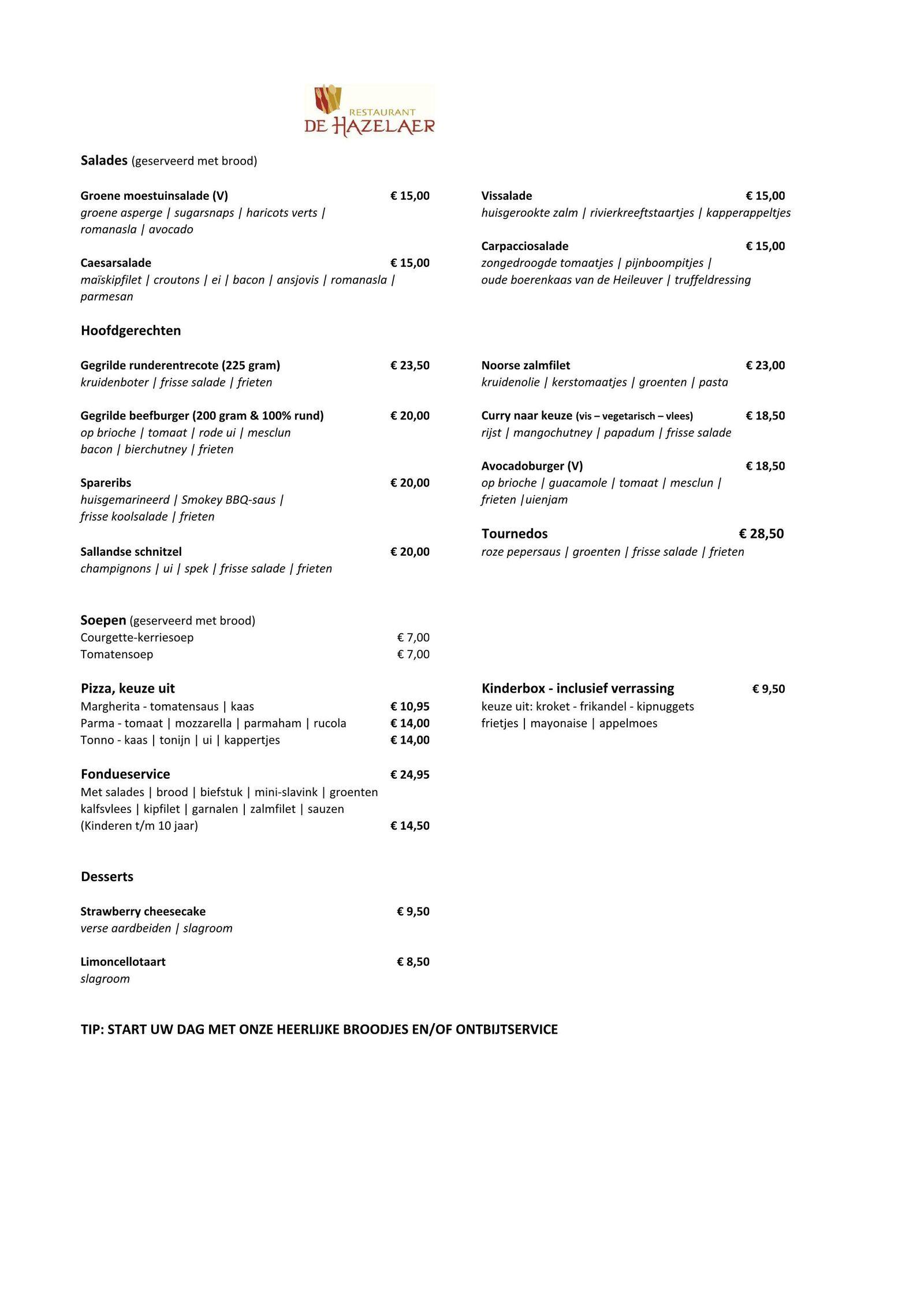 Essen zum Mitnehmen im Restaurant De Hazelaer