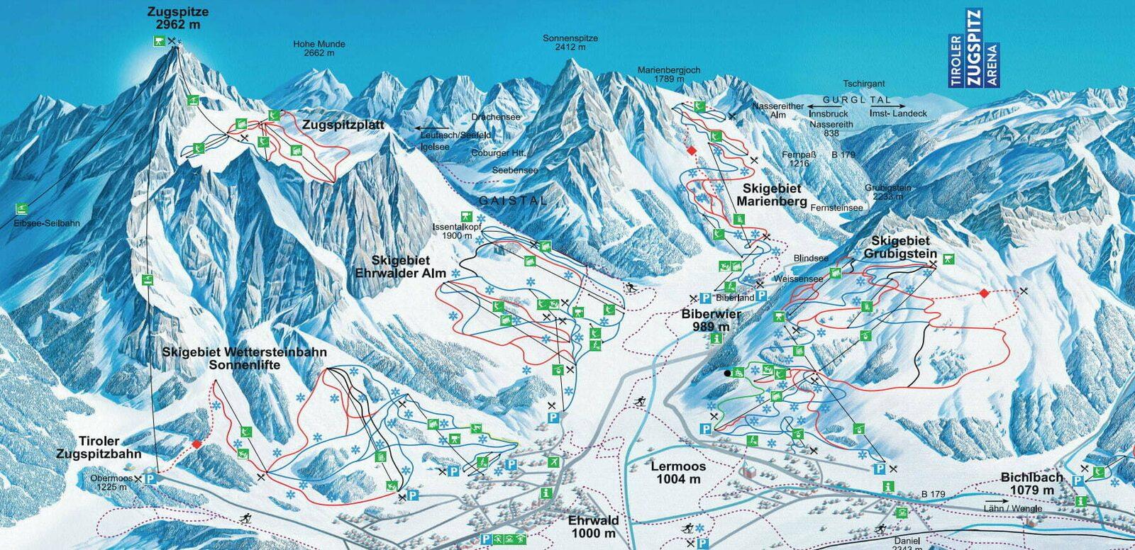 Pistekaart skigebied Wetterstein