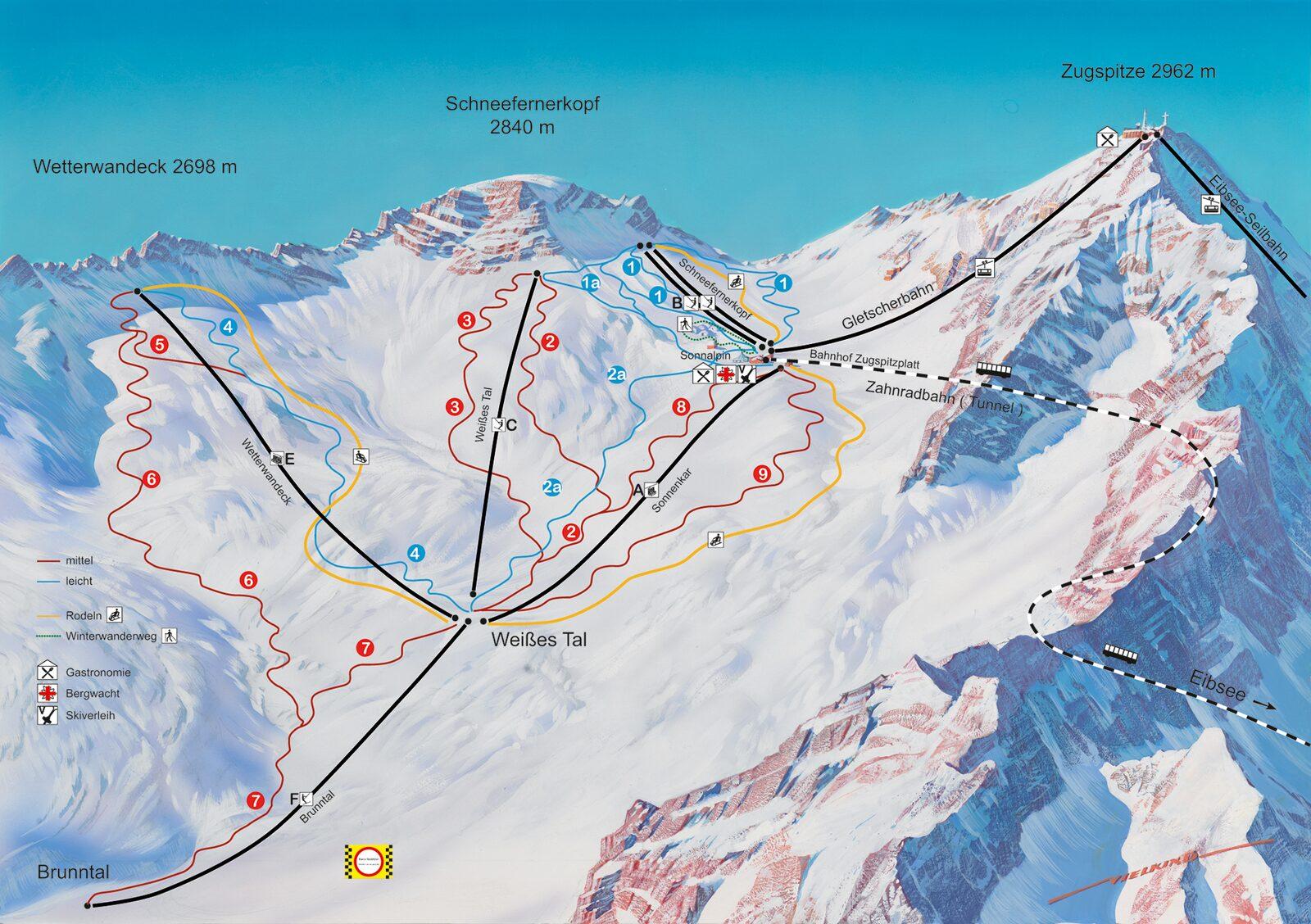 Pistekaart Zugspitze