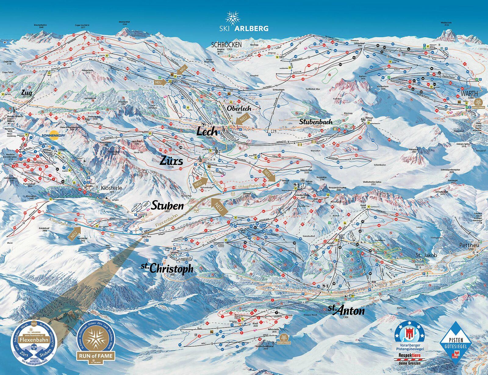 Pistekaart Ski Arlberg
